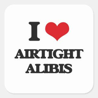 I Love Airtight Alibis Square Stickers