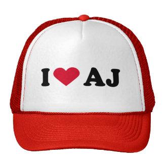 I LOVE AJ TRUCKER HAT