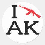 I Love AK - AK47 - 6 pk Stickers