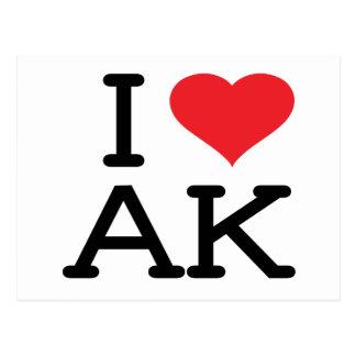 I Love AK - Heart - Postcard