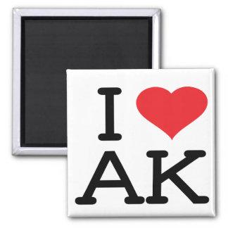 I Love AK - Heart - Square Magnet