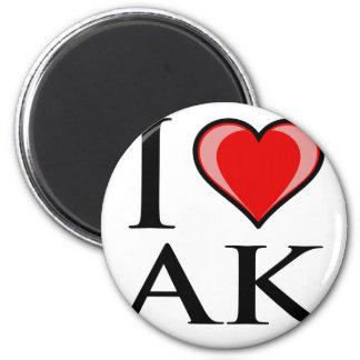 I Love AK - I Love Alaska 2 Inch Round Magnet