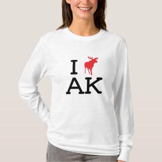 I Love AK - Moose - Ladies Long Sleeve T-Shirt