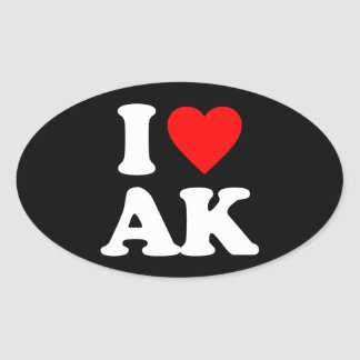 I LOVE AK OVAL STICKER