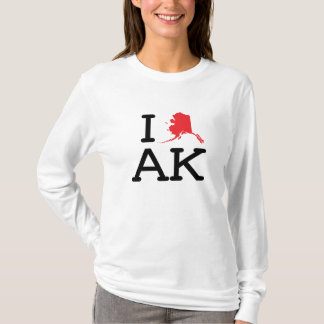 I Love AK - State - Ladies Long Sleeve T-Shirt