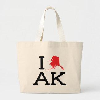 I Love AK - State - Tote Jumbo Tote Bag