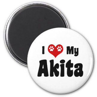 I Love Akitas 2 Inch Round Magnet