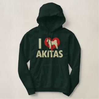 I Love Akitas Embroidered Hoodie
