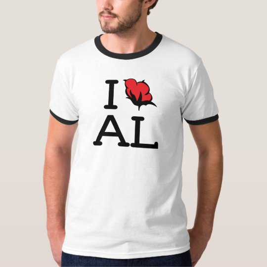I Love AL - Cotton (Mens Ringer) T-Shirt