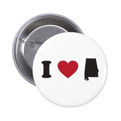 I love Alabama 2 Inch Round Button