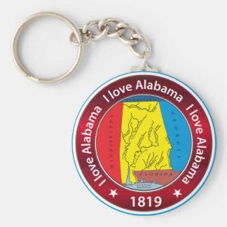 I love Alabama Basic Round Button Keychain