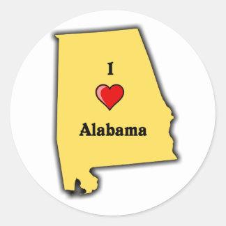 I Love Alabama Classic Round Sticker