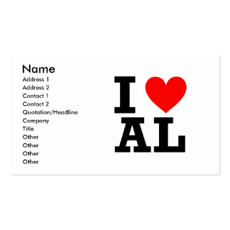 I Love Alabama Design Double-Sided Standard Business Cards (Pack Of 100)