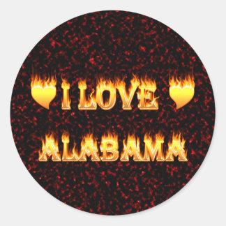 I love alabama fire and flames round sticker
