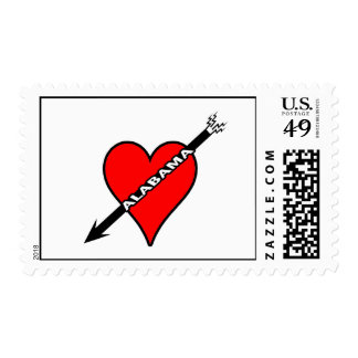 I Love Alabama Heart Postage