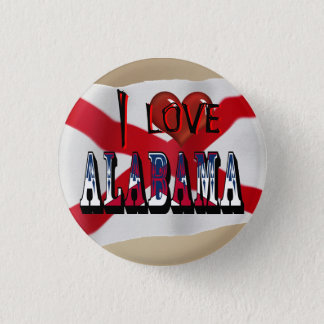 I Love Alabama State Flag Button