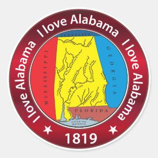 I love Alabama Round Sticker