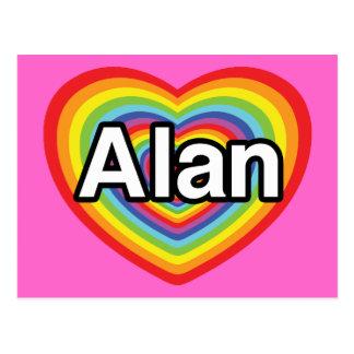 I love Alan, rainbow heart Postcard