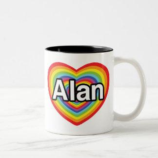 I love Alan, rainbow heart Two-Tone Coffee Mug