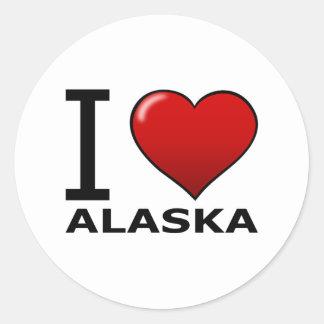 I LOVE ALASKA CLASSIC ROUND STICKER