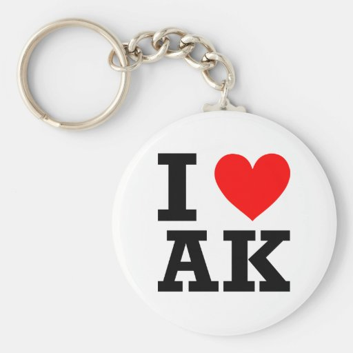 I Love Alaska Design Basic Round Button Keychain