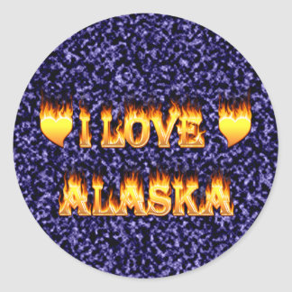 I love alaska fire and flames round sticker