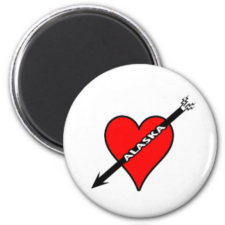 I Love Alaska Heart 2 Inch Round Magnet
