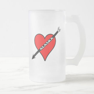 I Love Alaska Heart Frosted Glass Beer Mug