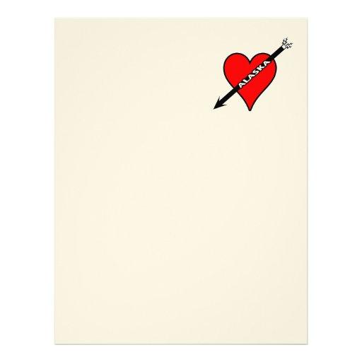 I Love Alaska Heart Personalized Letterhead