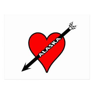 I Love Alaska Heart Postcard