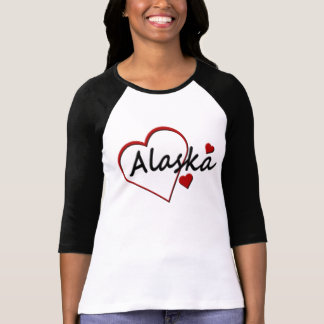 I Love Alaska Hearts Ladies Raglan T-shirt