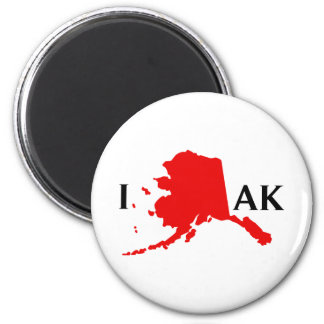 I Love Alaska - I Love AK State 2 Inch Round Magnet