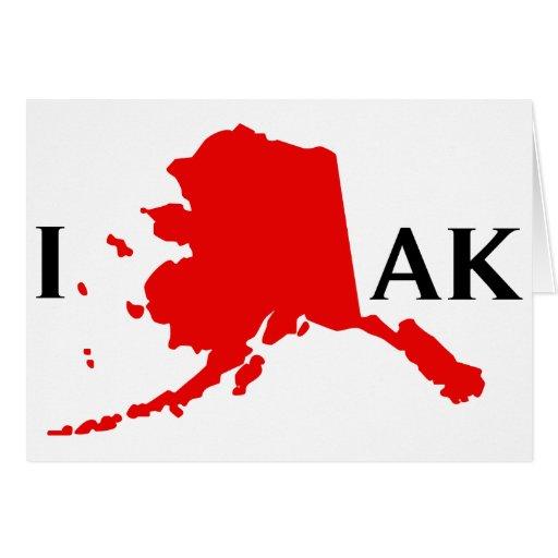 I Love Alaska - I Love AK State Greeting Card
