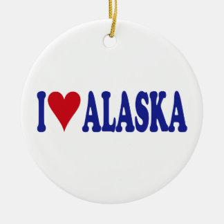 I Love Alaska Double-Sided Ceramic Round Christmas Ornament