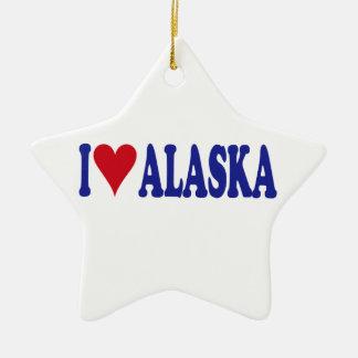 I Love Alaska Double-Sided Star Ceramic Christmas Ornament