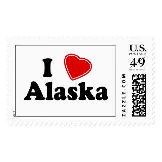I Love Alaska Postage Stamps