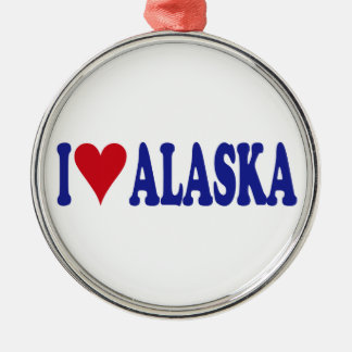 I Love Alaska Round Metal Christmas Ornament