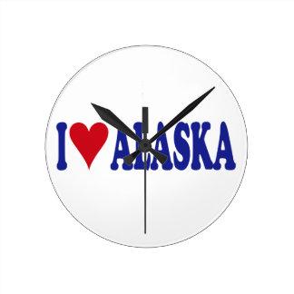I Love Alaska Round Wall Clock