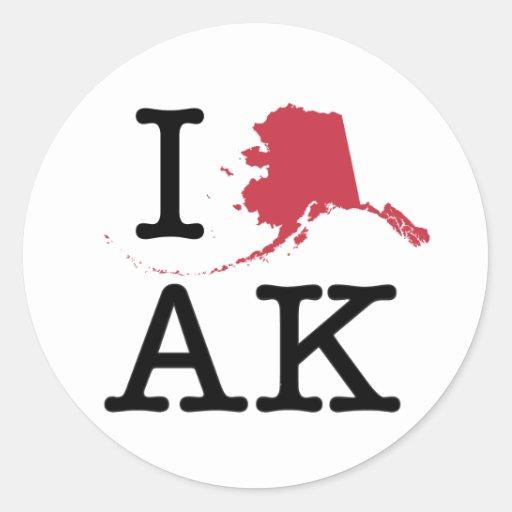 I Love Alaska Sticker
