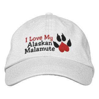 I Love Alaskan Malamute Dog Paw Print Embroidered Baseball Hat