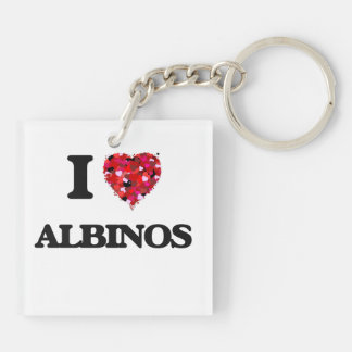 I Love Albinos Double-Sided Square Acrylic Keychain