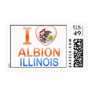 I Love Albion, IL Postage Stamp