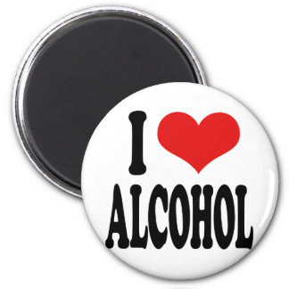 I Love Alcohol 2 Inch Round Magnet