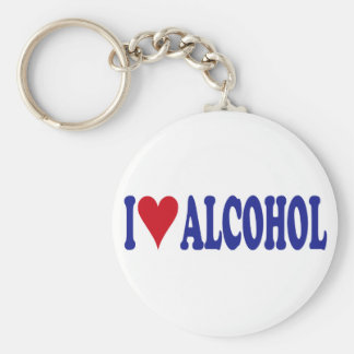I Love Alcohol Basic Round Button Keychain