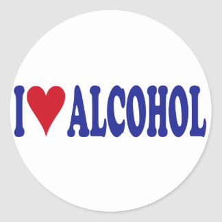 I Love Alcohol Classic Round Sticker