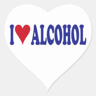 I Love Alcohol Heart Sticker