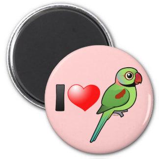 I Love Alexandrine Parakeets 2 Inch Round Magnet