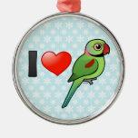 I Love Alexandrine Parakeets Round Metal Christmas Ornament