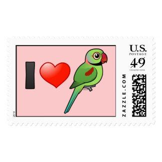 I Love Alexandrine Parakeets Stamp