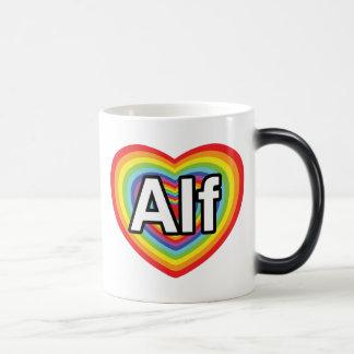 I love Alf, rainbow heart 11 Oz Magic Heat Color-Changing Coffee Mug